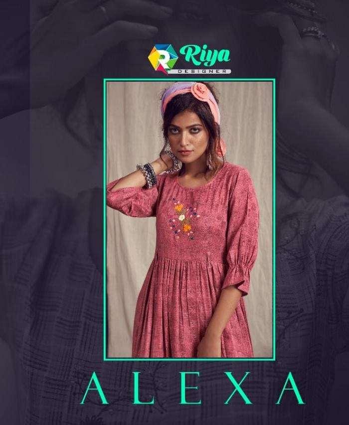 Riya designer alexa pashmina weaving kurti collection
