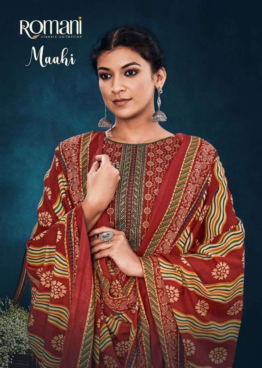 Romani Maahi Heavy Spun Digital Print With Work Dress Material collection