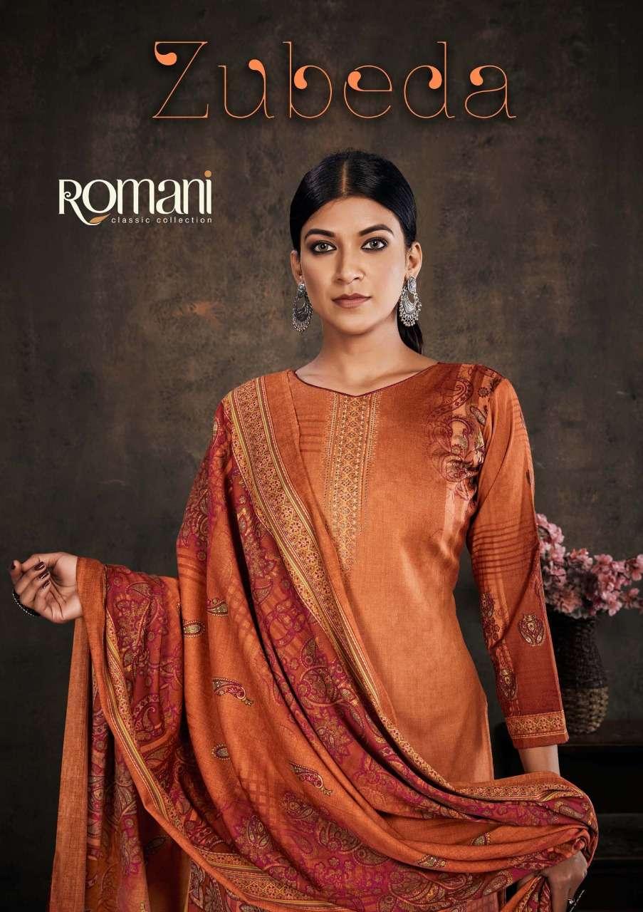 Romani Zubeda Spun Digital print With Work Dress Material Collection
