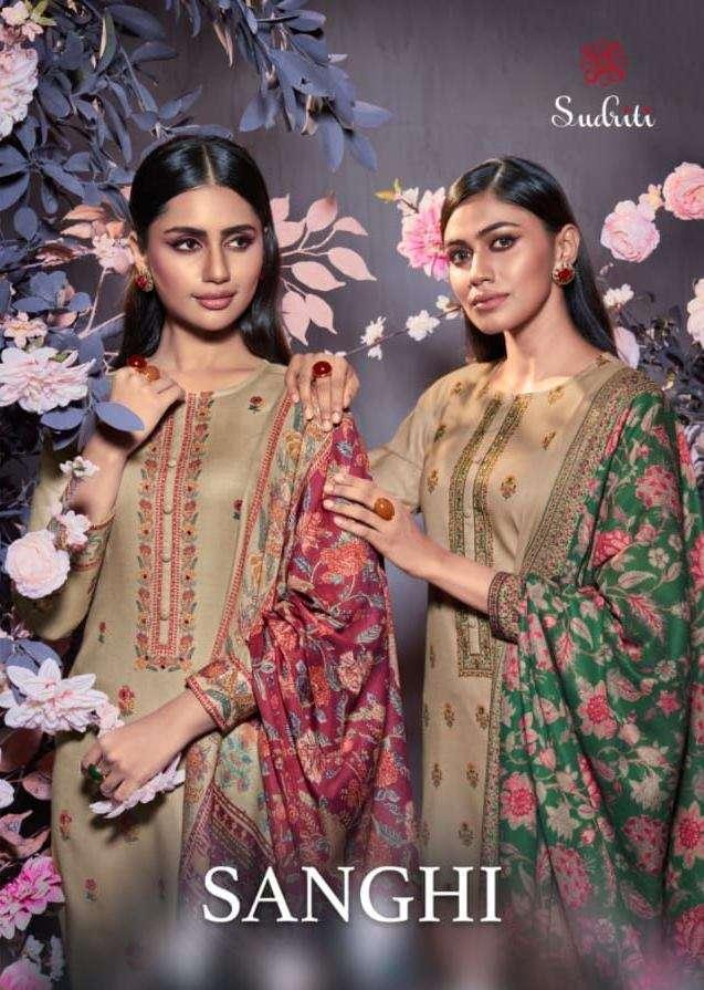 Sahiba Sudriti Sanghi Pashmina Digital print With mirror work dress Material collection
