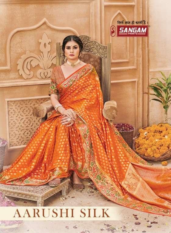 Sangam print aarushi silk saree collection