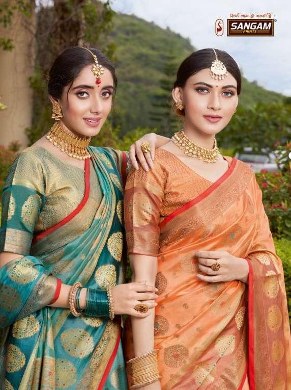 Sangam print bhavika organza with weaving saree collection