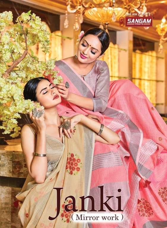 Sangam print janki linen silk saree collection
