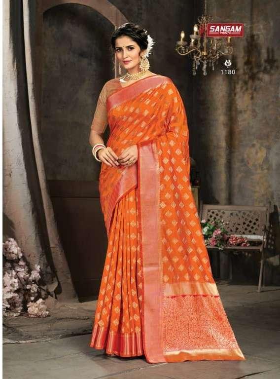 Sangam print karthika silk with weaving saree collection