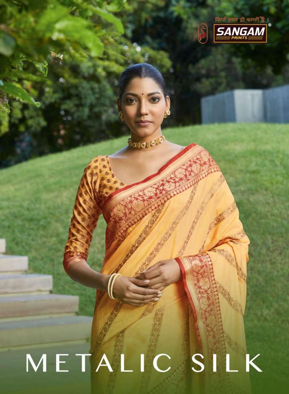 Sangam print metallic silk with weaving designer saree collection
