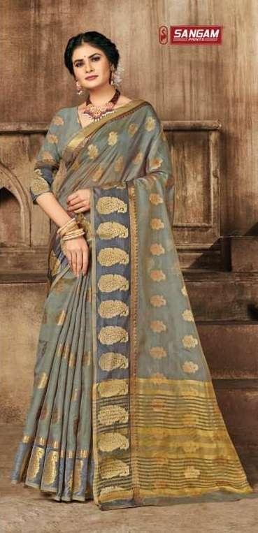 Sangam print Suhaana silk with weaving saree collection