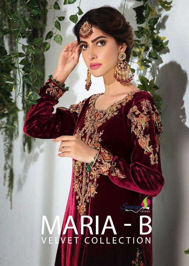 saniya Trendz Maria B Velvet Collection Velvet with Embroidery pakistani suits Collection