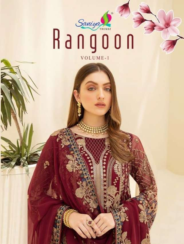 Saniya Trendz Rangoon Vol 1 Faux georgette with embroidery Work Pakistani Suits Collection