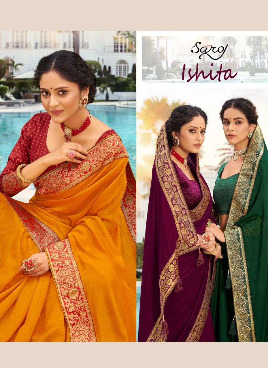 Saroj  ishita silk party wear saree collection