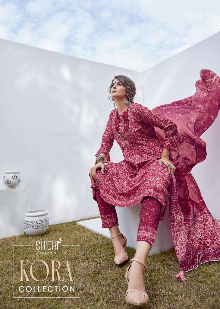 Shichi Kora Muslin Digital print With Work Readymade Suits Collection