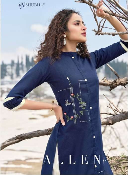 Shubh NX Allen Cotton With Embroidery work Kurti With Bottom Collection