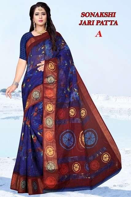 Sonakshi jari patta cotton printed saree collection