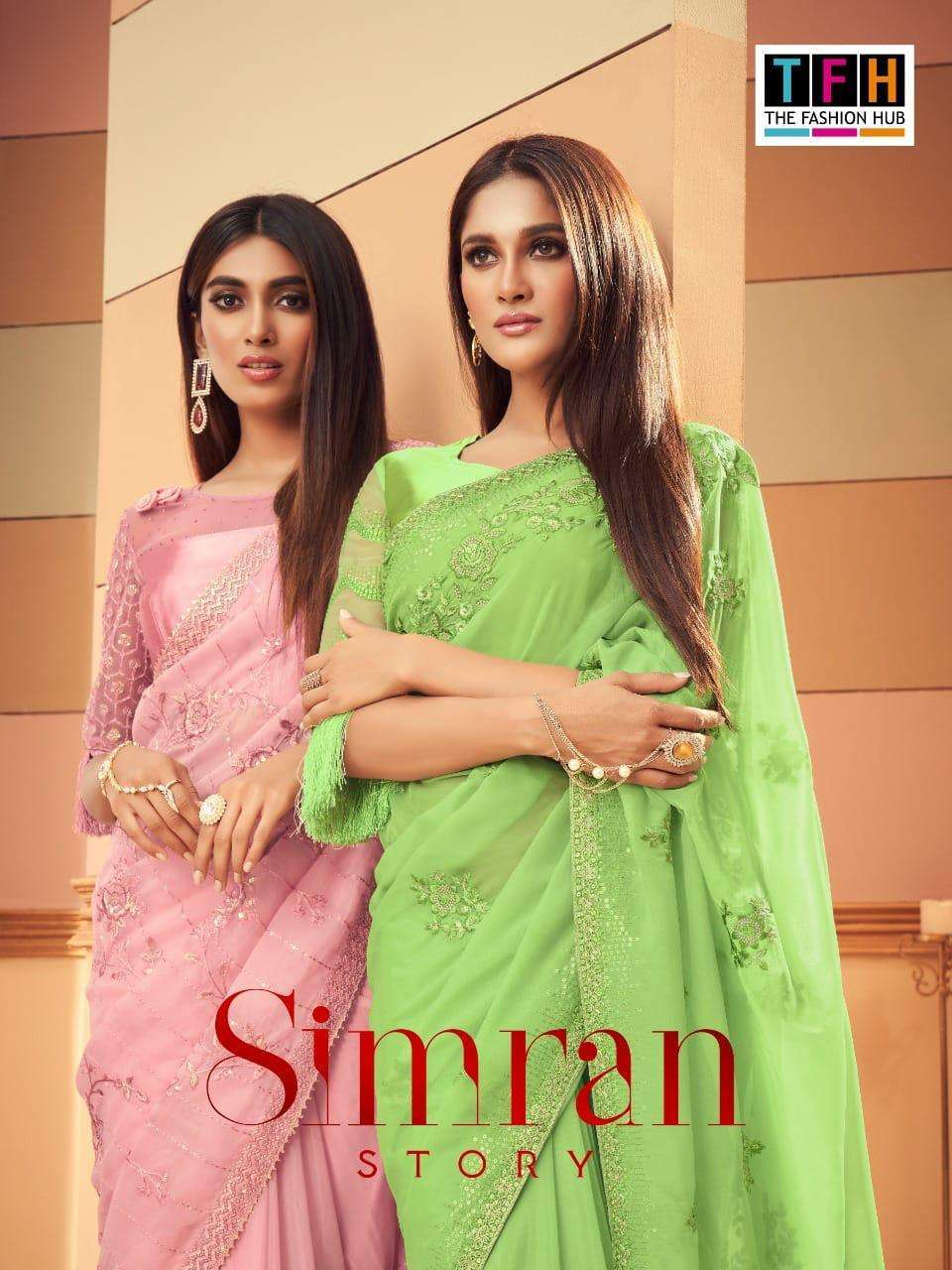 Tfh simran silk with embroidery work party wear saree collection