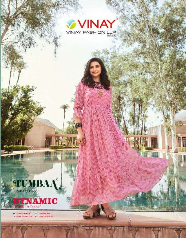 Vinay Fashion Tumbaa Dynamic Georgette Digital print With Embroidery Khatli Work Gown Collection