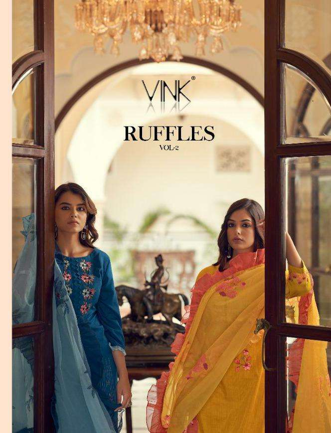 Vink Ruffles Vol 2 Silk With Embroidery Work Kurti With Pant Dupatta Collection
