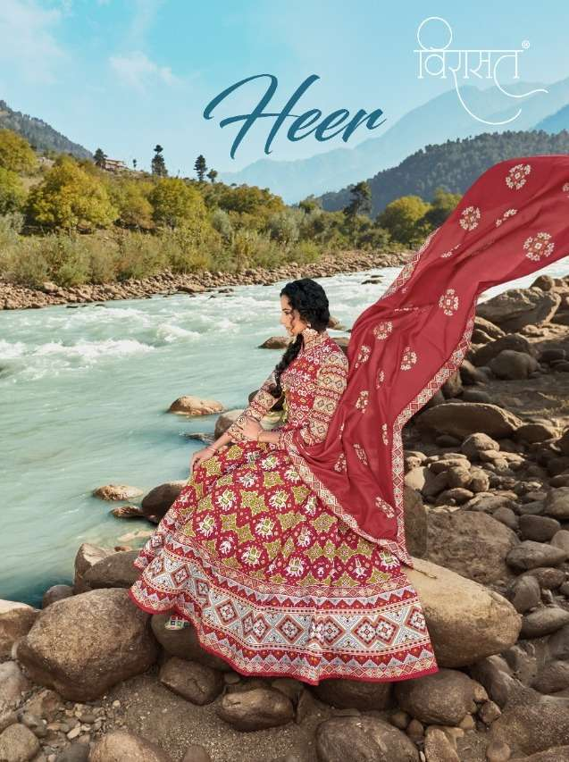 Virasat Heer silk patola Digital print Readymade Gown Suits Collection