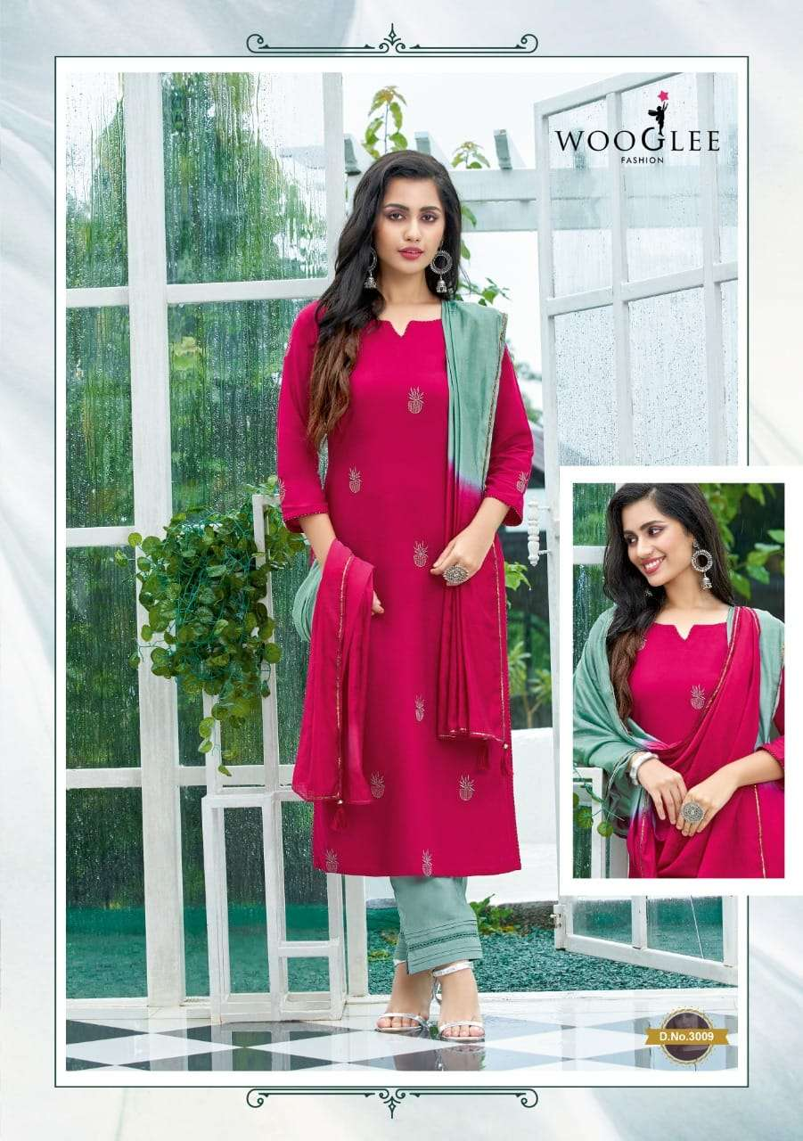Wooglee Butterfly Rayon With Embroidery hand Work Kurti With Pant Dupatta Collection