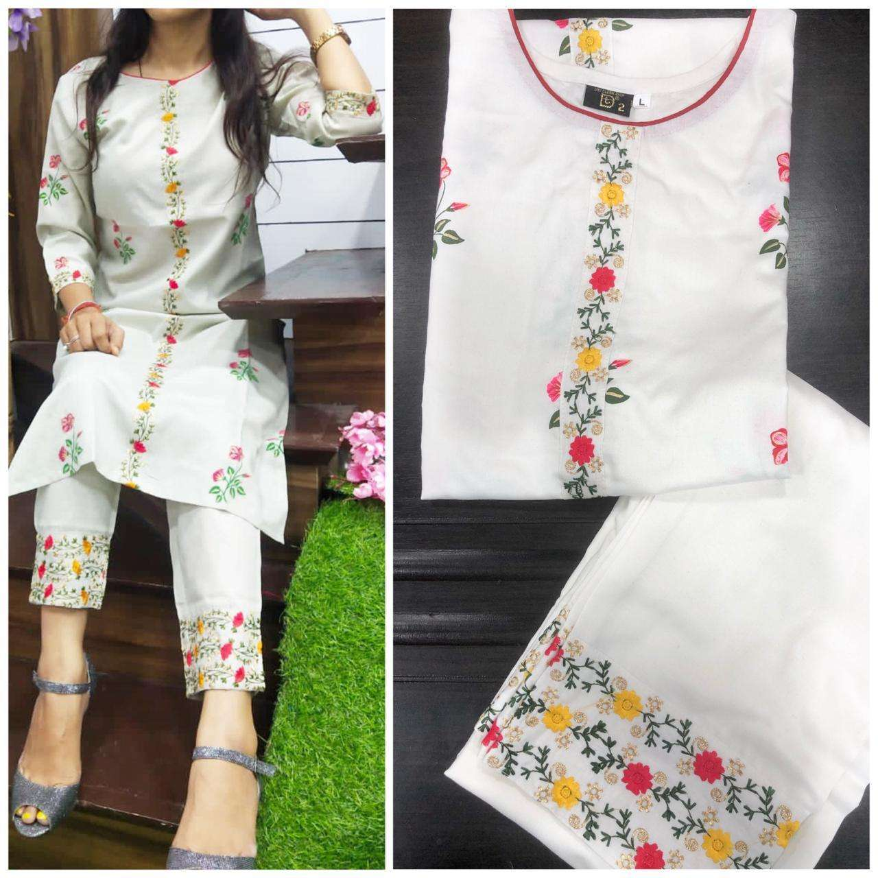 Designer Rayon Cotton With Embroidery Work Kurti With Palazzo Collection