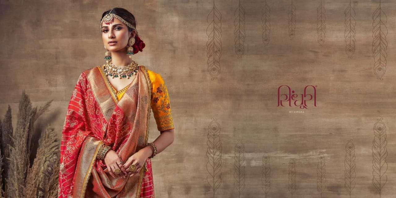 Kimora Sindhuri Bandhani Silk With Bandhej Print With Thread Work Heavy Sarees Collection
