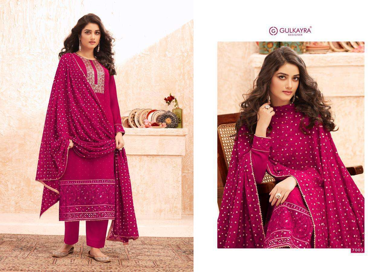 Aashirwad Creation Gulkayra Nazmin Real Georgette With Embroidery Work Dress Material Collection