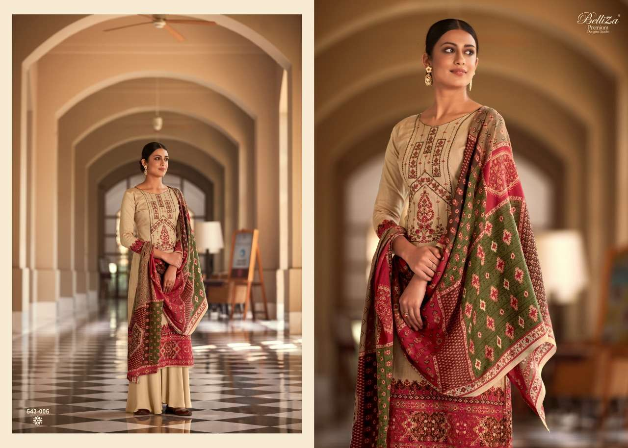 Belliza Designer Studio Riyaaz Pure Cotton Print With Fancy Embroidery Work Dress Material Collection 02