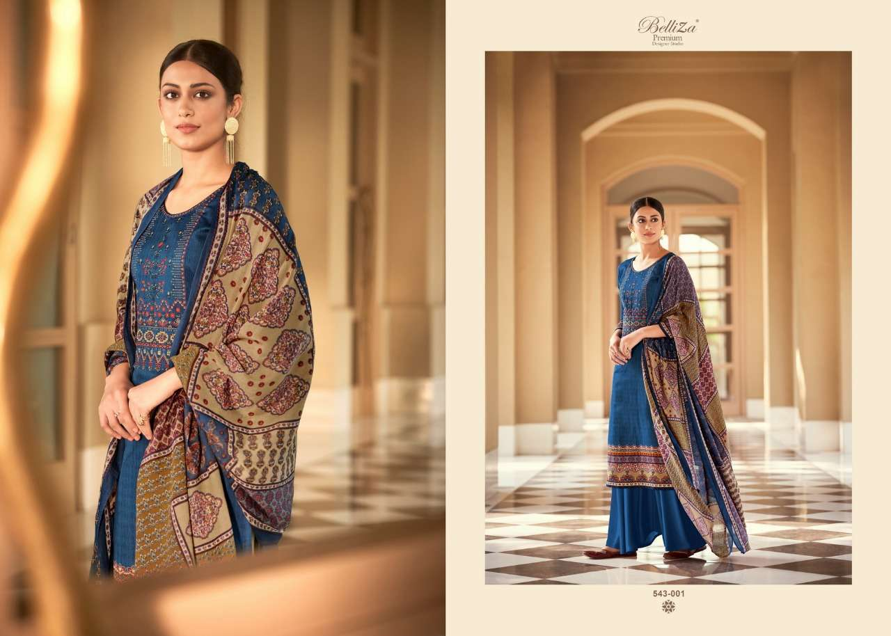 Belliza Designer Studio Riyaaz Pure Cotton Print With Fancy Embroidery Work Dress Material Collection 03