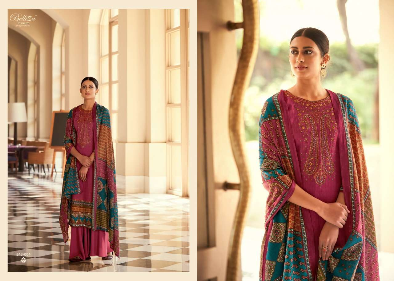 Belliza Designer Studio Riyaaz Pure Cotton Print With Fancy Embroidery Work Dress Material Collection  04
