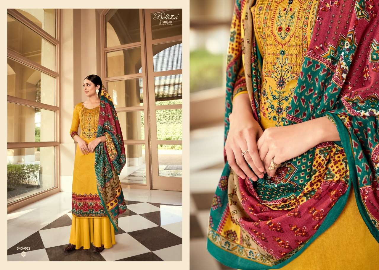 Belliza Designer Studio Riyaaz Pure Cotton Print With Fancy Embroidery Work Dress Material Collection 05