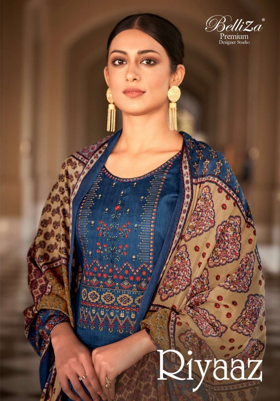 Belliza Designer Studio Riyaaz Pure Cotton Print With Fancy Embroidery Work Dress Material collection