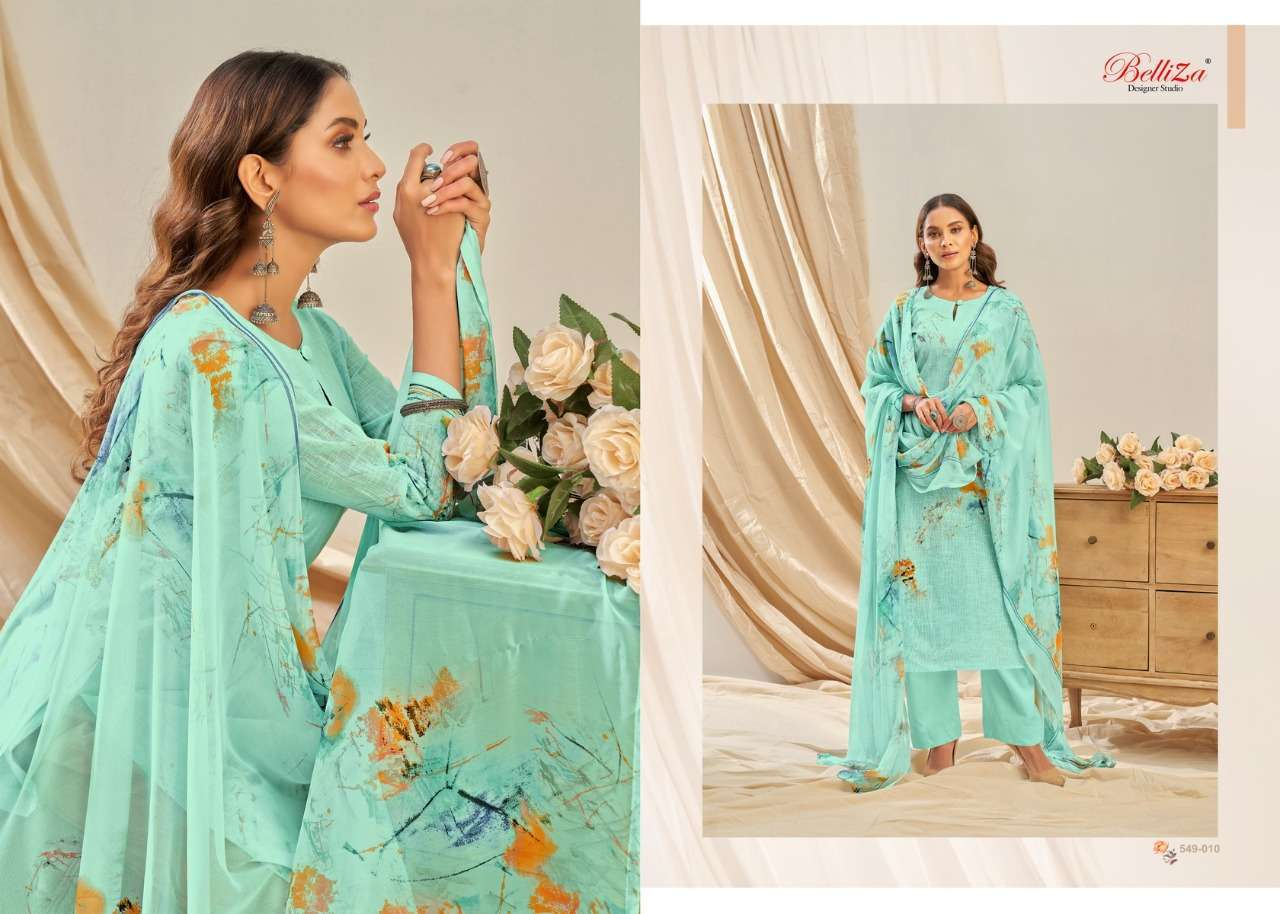 Belliza Designer Studio Rukhsar Cotton Linen With Digital Print Dress Material Collection 006