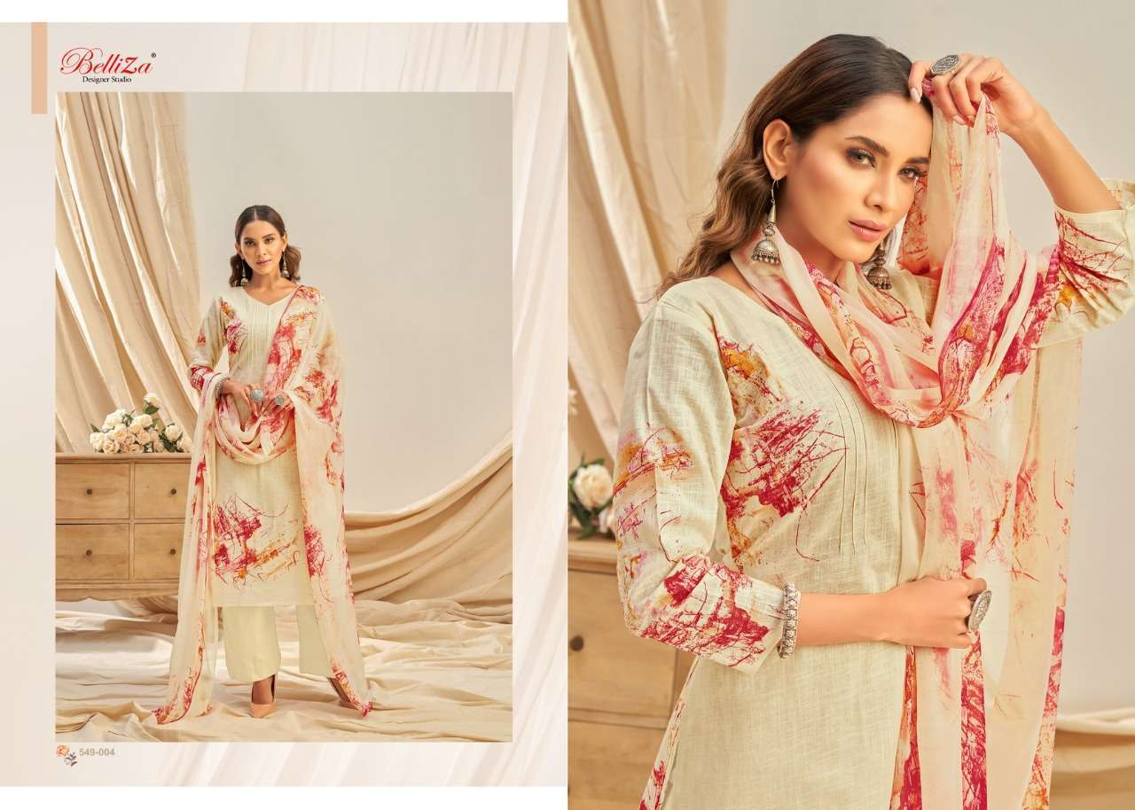 Belliza Designer Studio Rukhsar Cotton Linen With Digital Print Dress Material Collection 010