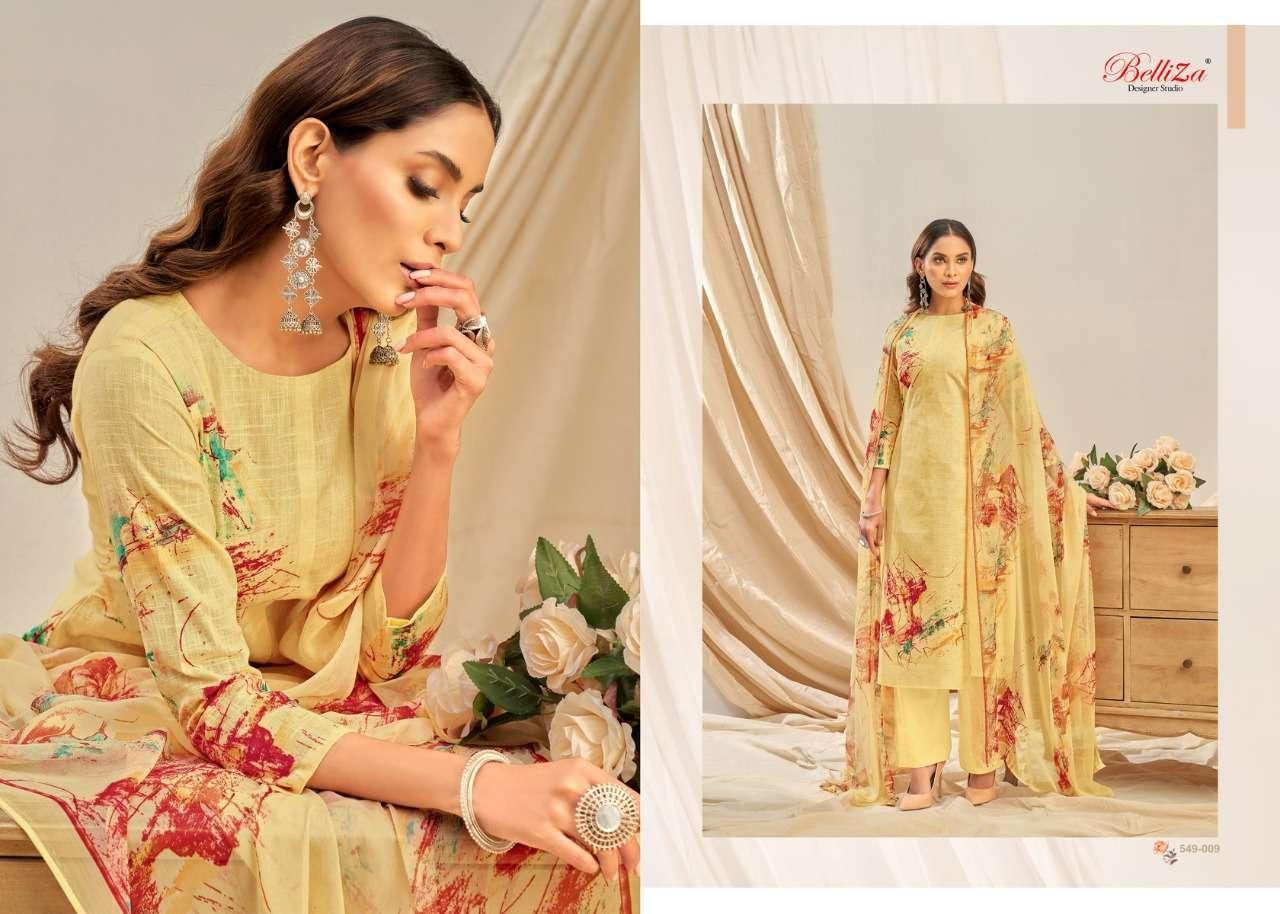 Belliza Designer Studio Rukhsar Cotton Linen With Digital Print Dress Material Collection 05