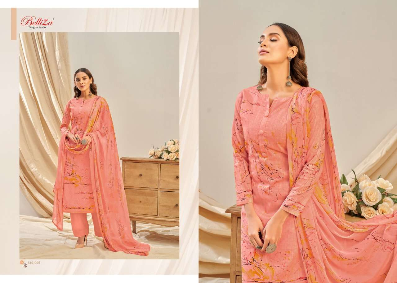 Belliza Designer Studio Rukhsar Cotton Linen With Digital Print Dress Material Collection 09