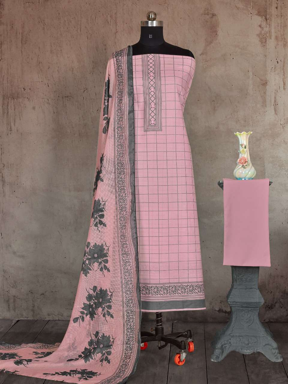 BIPSON KOTA QUEEN 1449 COTTON PTINT WITH WORK DRESS MATERIAL COLLECTION