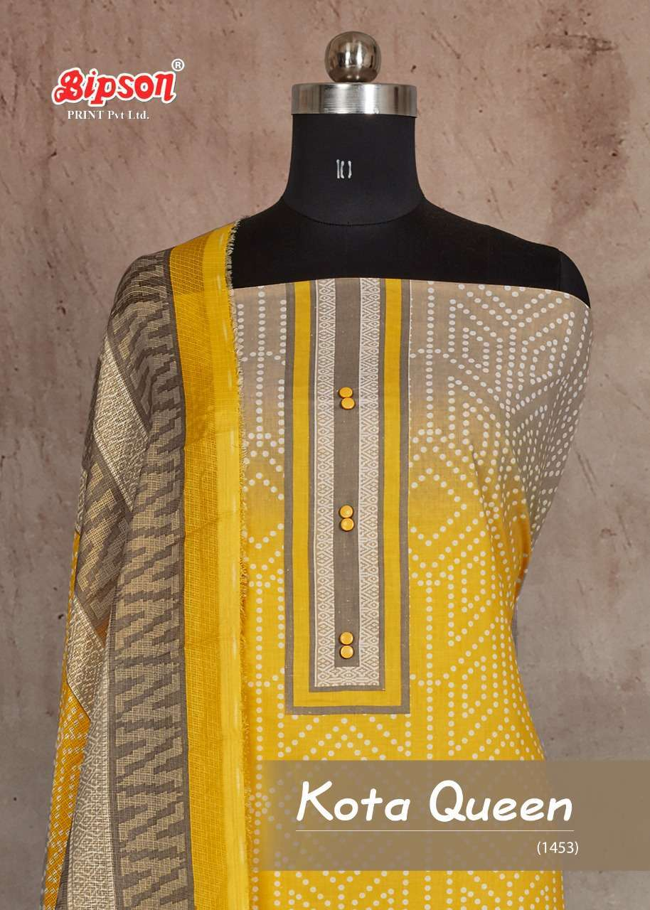 BIPSON KOTA QUEEN 1453 PURE COTTON PRINT WITH WORK DRESS MATERIAL COLLECTION