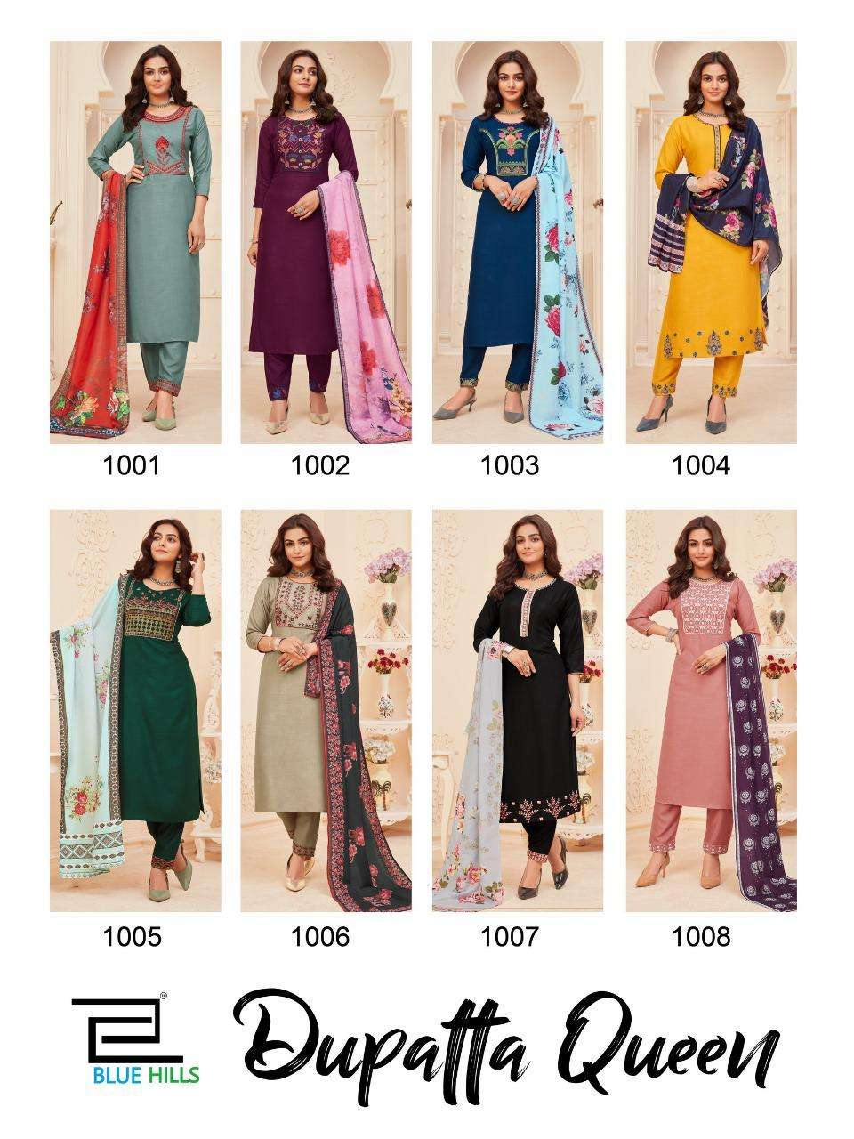 BLUE HILLS DUPATTA QUEEN VOL 1 RAYON WITH EMBROIDERY WORK KURTI WITH BOTTOM WITH DUPATTA COLLECTION