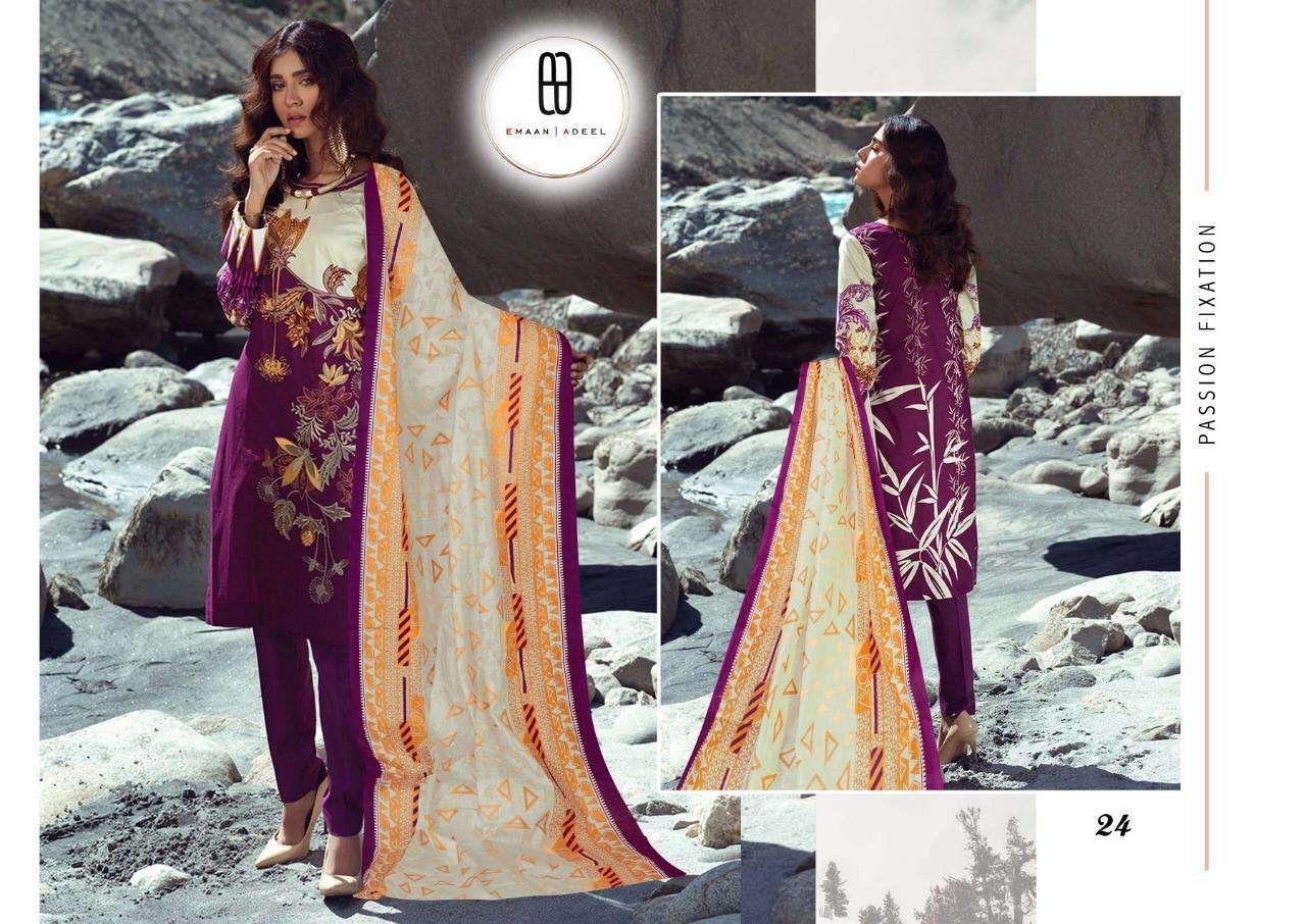 Emaan Adeel Vol 3 Pure lawn With Fancy Print dress Material Collection