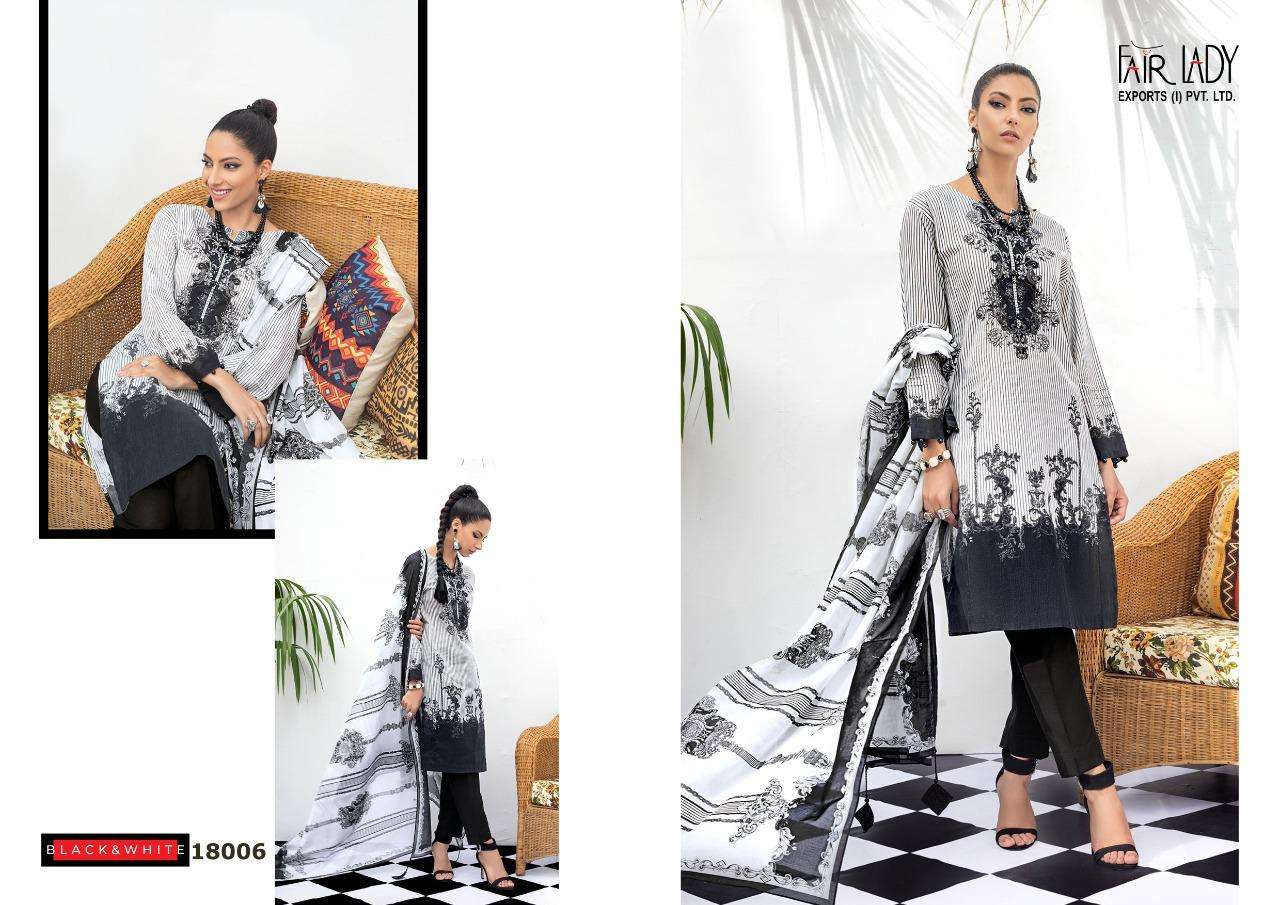 Fair lady Black And White Embroidered Collection Lawn Cotton print With Embroidery Patch Work Pakistani Suits Collection