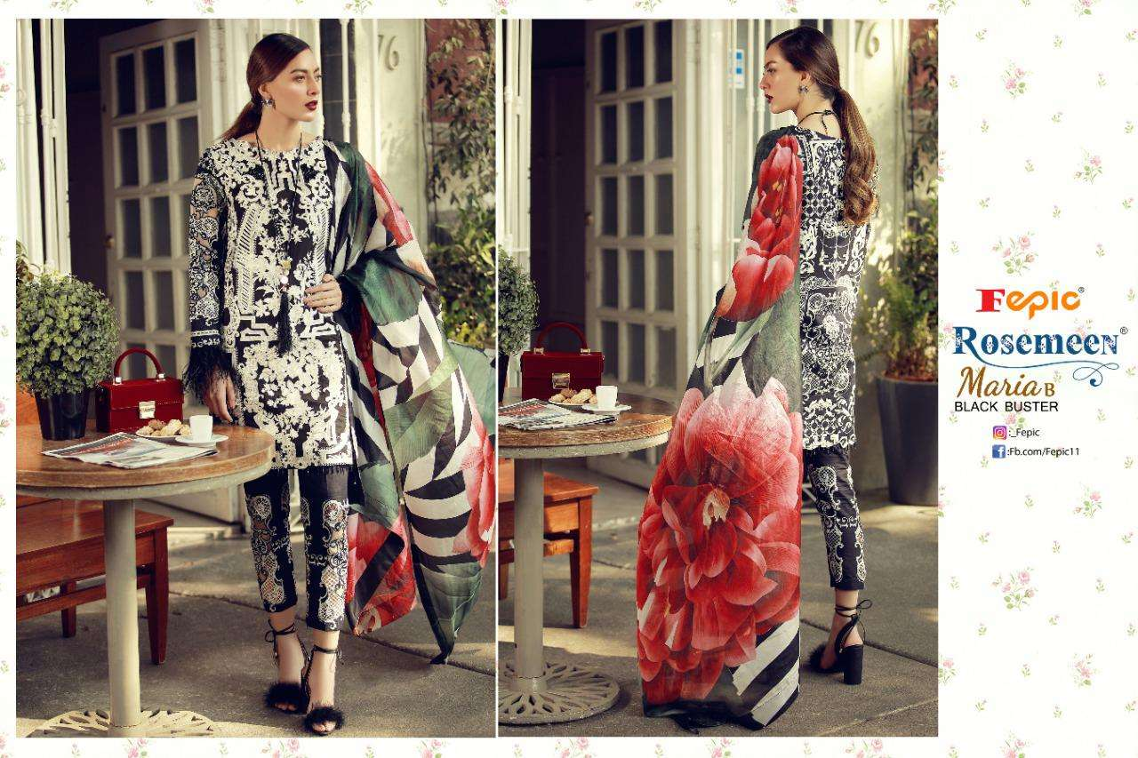Fepic Rosemeen Maria B Black Buster Pure Cotton Print With Embroidery patch Work Pakistani Suits Collection