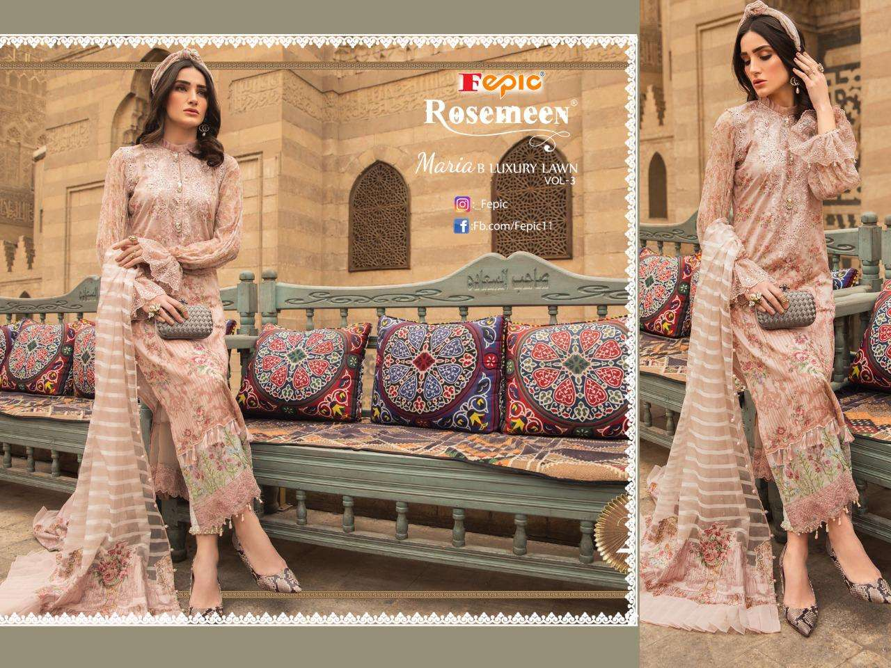Fepic Rosemeen Maria B Luxury Lawn Vol 3 Cotton With Embroidery Patch work Pakistani Suits Collection
