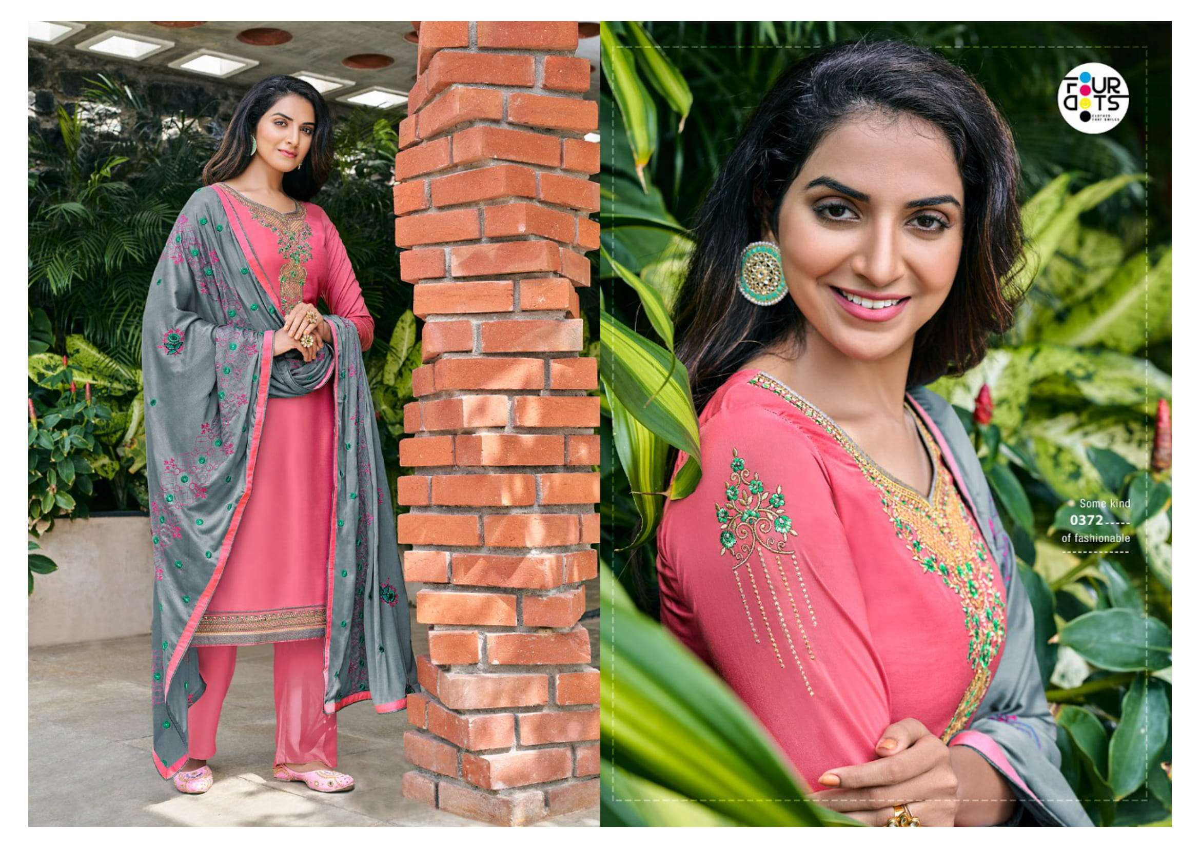 FOUR DOTS SANGAM VOL 4 PARAMPARA SILK WITH EMBROIDERY WORK DRESS MATERIAL COLLECTION
