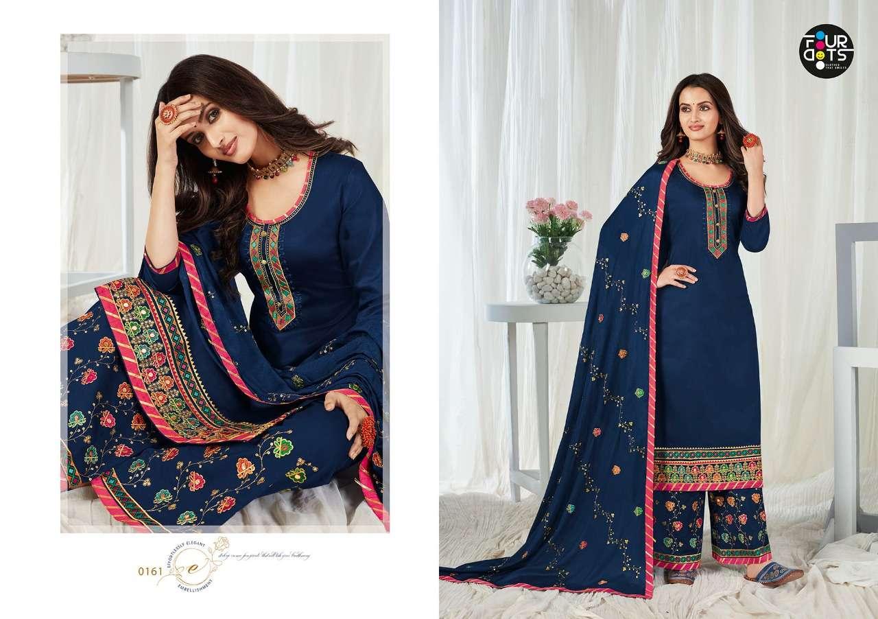 Kessi Fabric Kalarang Four Dots Rupali Jam Silk Cotton With Gota Embroidery Work Dress Material Collection