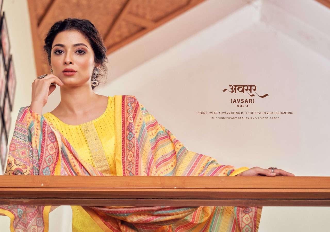 Kessi Fabrics Four Dots Avsar Vol 3 Viscose Upada Silk With Sequence Work Dress material Collection