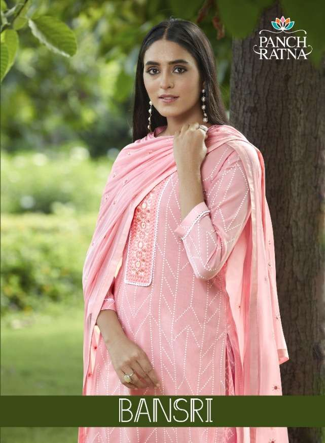 Kessi fabrics Panch Ratna Bansri Soft Cotton Print With Sequence work dress material Collection