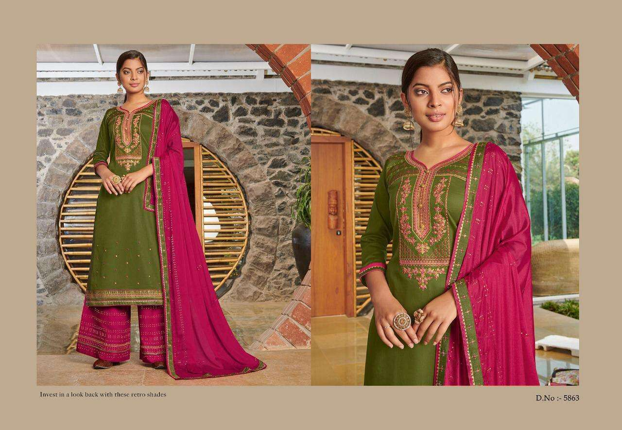 Kessi fabrics safari Vol 5 Jam Silk With embroidery Work Dress Material Collection