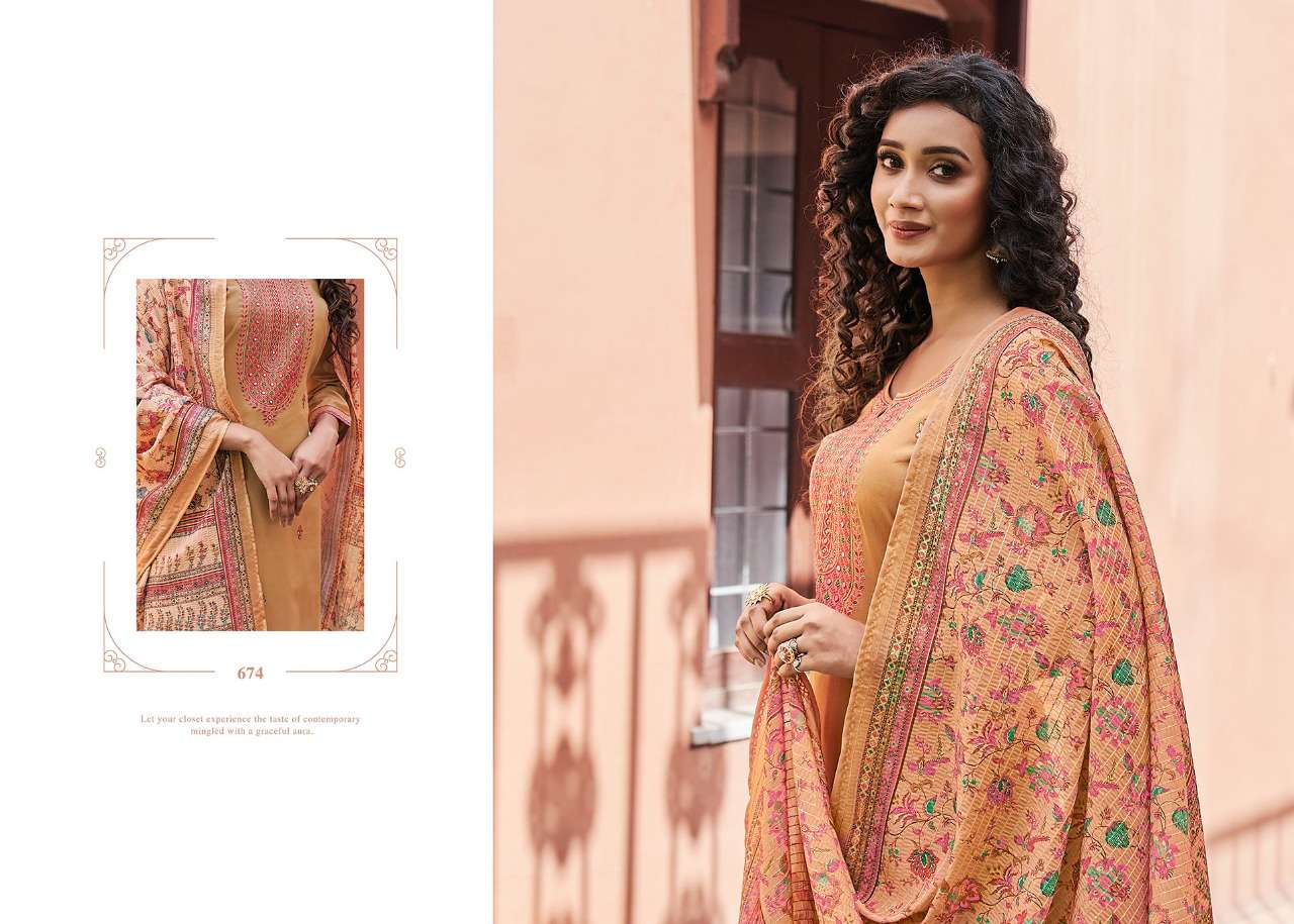 Kessi fabrics Triple A Kamlee Jam Silk With Embroidery Work Dress Material Collection