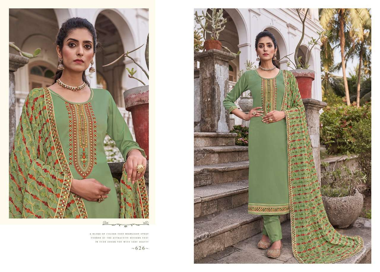 Kessi Fabrics Triple A Kashi Jam Silk With Embroidery Work Dress Material Collection At Wholesale rate