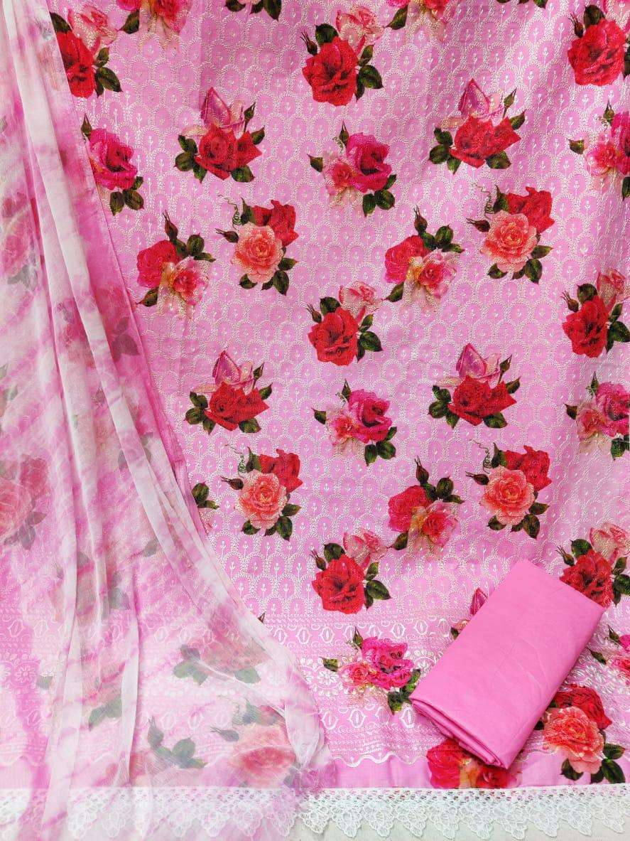 LATEST COTTON PRINT WITH EMBROIDERY WORK DRESS MATERIAL COLLECTION