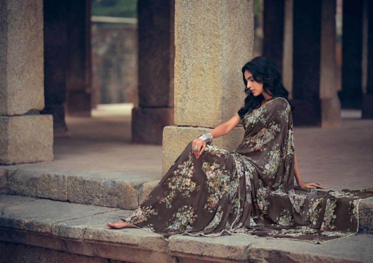 Lt Fabrics Kashvi Menka Georgette With Printed Lace Border Sarees Collection 07