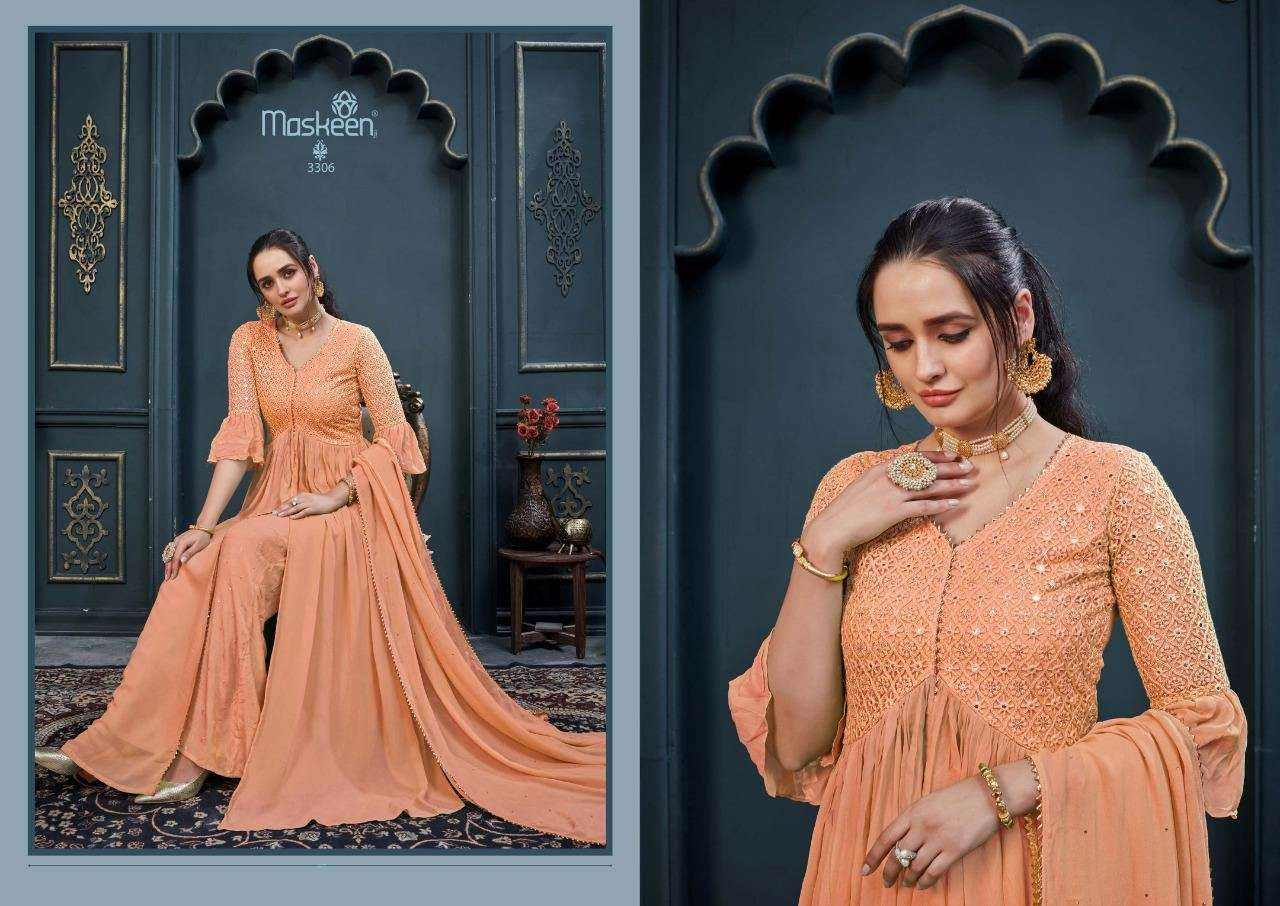 MAISHA MASKEEN FLORIS GEORGETTE WITH HEAVY EMBROIDERY MIRROR WORK READYMADE SALWAR KAMEEZ COLLECTION